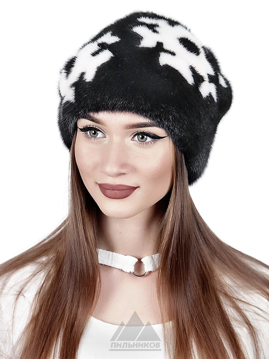 Норковая-шапка Снежинка