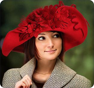 Шляпа с большими полями из велюра