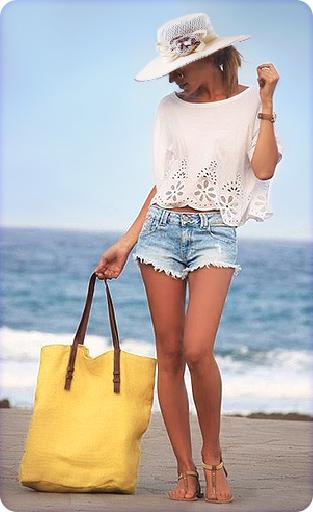 Широкополая шляпа на пляже